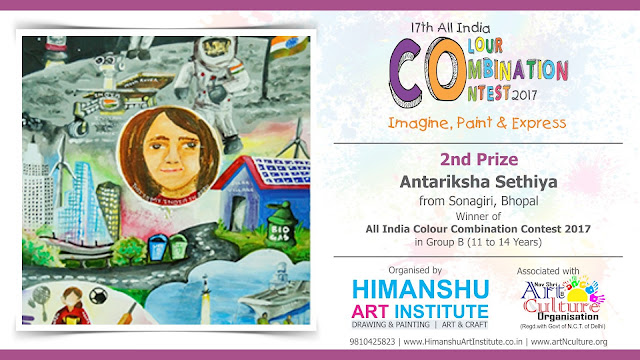 2nd Prize Winner Antariksha Sethiya from Sonagiri, Bhopal in All India National Level Painting Competition for Kids