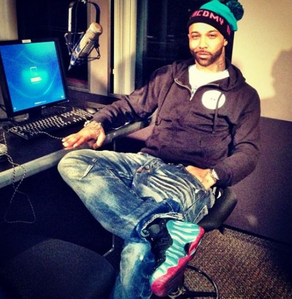 96e46ff5c98 ... netherlands joe budden rocking custom nike foamposite south beach  sneakers 5b4ce 7596a