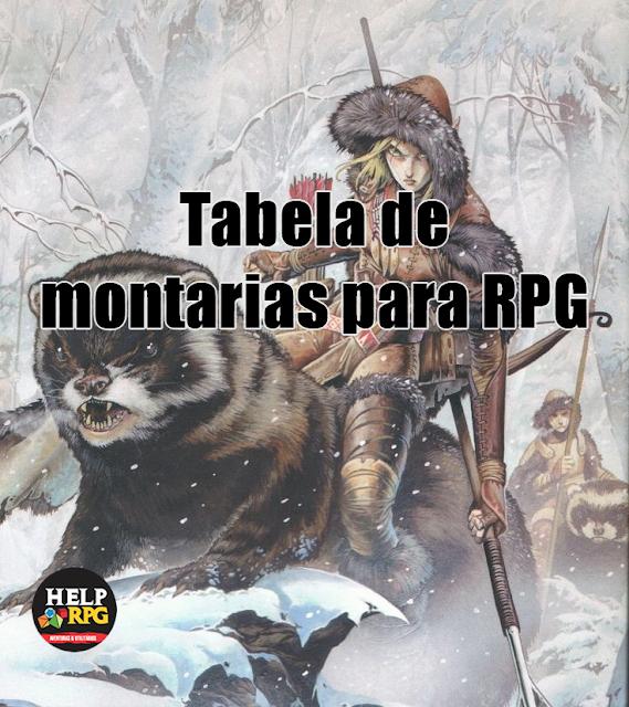 Tabela de montarias para RPG.