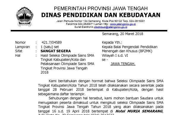 Pelaksanaan OSK seretntak seindonesia sudah  Arsip OSN:  Pengumuman Hasil OSK SMA Tahun 2018 Provinsi Jawa Tengah
