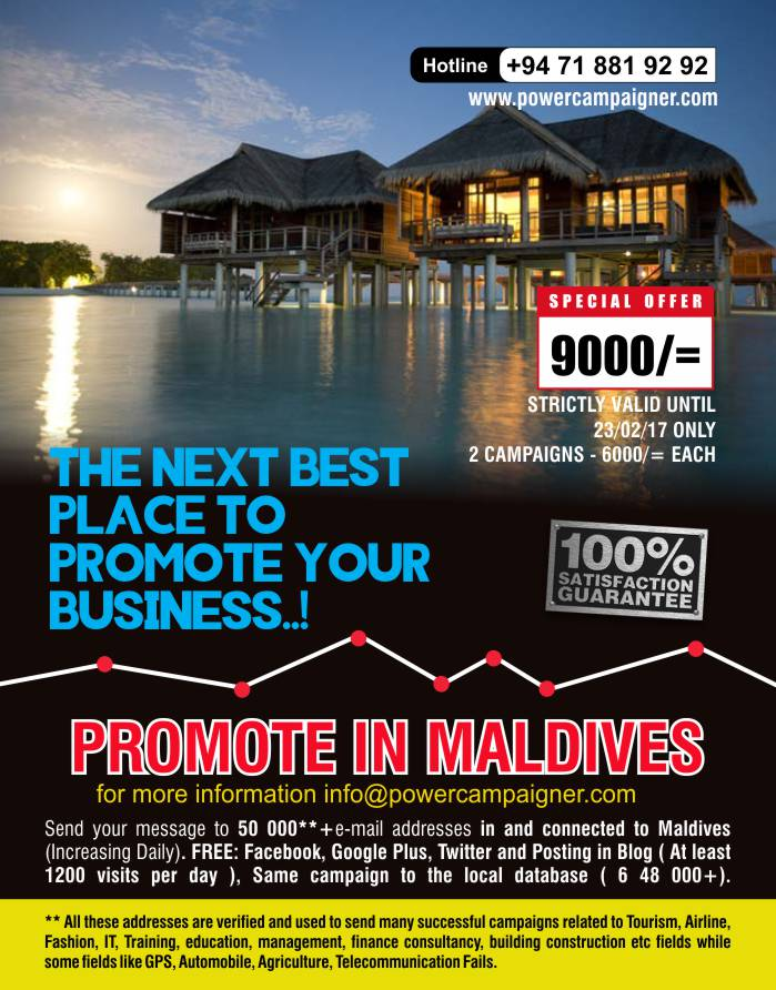 Promote in Maldives | Next best place to promote your business ( LKR 9000/=only)