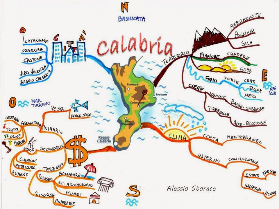 Conosciuto Tutti a bordo - dislessia: Calabria - Mappa mentale di geografia LG06