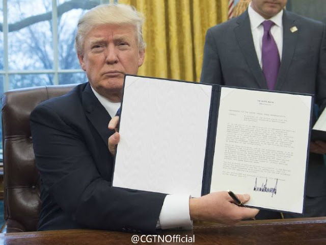 US President Donald Trump signed an executive order to withdraw the country from the Trans-Pacific Partnership