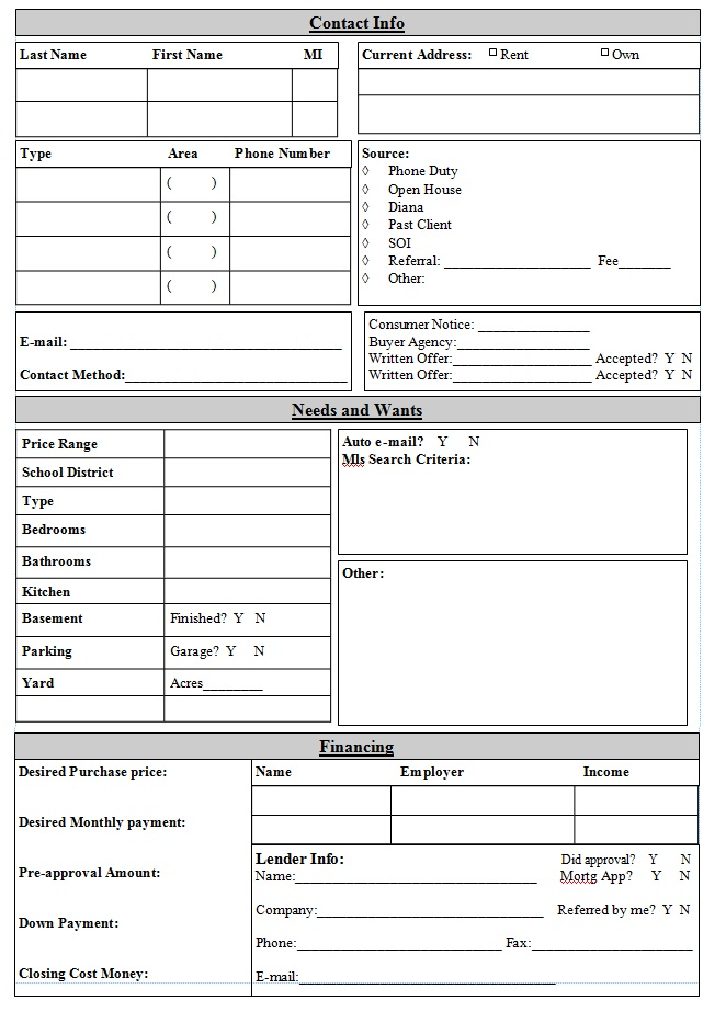 Buyer Client Form - Tools for Real Estate Agents ~ Great pin! For - cost analysis format