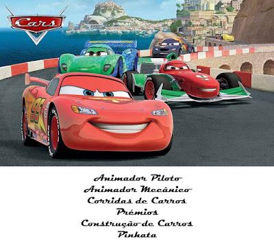 Animação Festa Carros Faísca Mcqueen