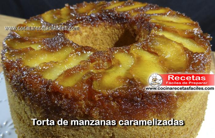 Receta de Torta de manzanas caramelizadas, es sencilla de preparar   queda húmeda y con un ligero tono tostado que nos da una idea de su exquisito sabor.