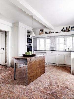 brick herringbone floor