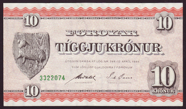 Faroese Banknotes 10 Krone banknote 1949
