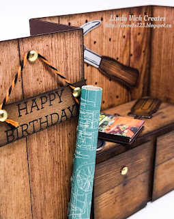 Linda Vich Creates: Nailed It Workbench Birthday. Detailed workbench card created using the new Wood Textures DSP and the Nailed It Bundle.