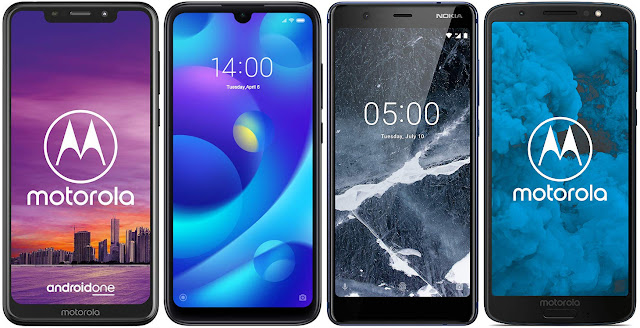 Motorola One 32 GB vs Xiaomi Mi Play 64G vs Nokia 5.1 32 GB vs Motorola Moto G6 32 GB