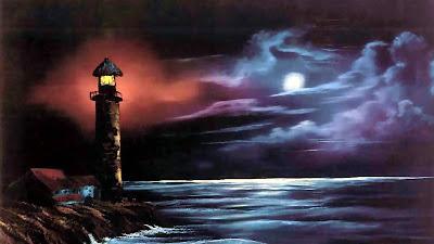Αναμμένος φάρος, σε νύχτα με συννεφιασμένο ουρανό και πανσέληνο. Ακολουθεί το κείμενο: Για το σταυρό και τους ραβίνους δε χάσαμε τον ομορφότερό μας σύντροφο; Εκείνον που αγάπησε τους μαχητές, τα γερά σκαριά και τις ανοιχτές θάλασσες.   Σαν ήρθανε τα πλήθη να αιχμαλωτίσουνε τον Άνθρωπό μας να τον έβλεπες μονάχα πως χαμογελούσε. «Πρώτα ν' αφήσετε να φύγουν οι υπόλοιποι» έτσι τους είπε ο όμορφός μας σύντροφος «αλλιώς θα είσαστε καταραμένοι…»   Έτσι μας έδιωξε ανάμεσα από τις λόγχες τους, έτσι γελοιοποίησε τη συμμορία «γιατί δε με συλλάβατε» τους είπε «τότε που μόνος μες στην πόλη περπατούσα;»   Την τελευταία φορά που μας συντρόφευσε ήπιαμε στην υγειά του φίνο κόκκινο κρασί γιατί ήταν ο πιο άνθρωπος απ' τους ανθρώπους, γιατί δεν ήτανε παχύς παπάς κι ευνούχος.   Τον είδα με μια τριχιά στο χέρι να κυνηγάει καμιά εκατοστή εμπόρους, γιατί -μη σας ξαφνιάζει- το τίμιο κι αγιασμένο σπίτι του το καταντήσανε παζάρι και χρηματιστήριο.   Δε θα τη βρείτε, δε χωράει στα βιβλία η ζωή του, όσο περίτεχνα κι αν γράφονται. Δεν είναι ποντικός στα κιονόκρανα ο όμορφός μας σύντροφος που αγαπούσε τις ανοιχτές θάλασσες.   Γελιούνται παράφορα όσοι νομίζουν πως παγιδέψανε τον όμορφό μας σύντροφο· «πηγαίνω στη γιορτή» μας είπε «παρ' όλο που πηγαίνω στην αγχόνη. Είδατε πως θεράπευσα κουτσούς κι αόμματους, πως ανάστησα νεκρούς» μας είπε «τώρα θα δείτε κάτι ανώτερο: πως πεθαίνει στο σταυρό ένας γενναίος».   Ο γιος του θεού, ο όμορφός μας σύντροφος, μας κάλεσε να γίνουμε αδέρφια του. Τον είδα να τρομάζει χίλιους άντρες. Τον είδα σταυρωμένο.   Δεν έβγαζε μιλιά όταν του κάρφωναν τα χέρια, όταν ανάβλυζε το αίμα του ζεστό. Όταν αλυχτούσαν τα βρωμόσκυλα του κόκκινου ουρανού ο όμορφός μας σύντροφος δεν έβγαζε μιλιά.   Τον είδα στα υψώματα της Γαλιλαίας να τρομάζει χίλιους άντρες· περνούσε ήρεμος ανάμεσά τους κι εκείνοι κλαψουρίζανε κι ήταν τα μάτια του ωραία σαν τη γαλάζια θάλασσα. Σαν θάλασσα φουρτουνιασμένη που δεν ανέχεται ταξίδια. Σαν της Γεννησαρέτ τη θάλασσα που την υπόταξε με δυό του λέξεις.   Τον 