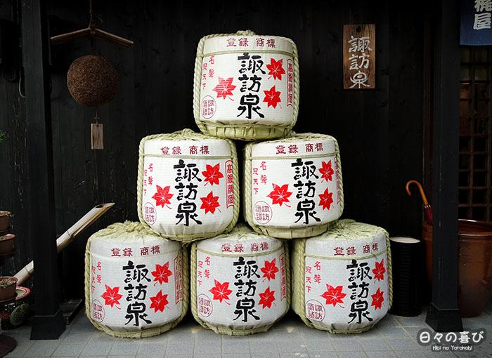 empilement de tonneaux de saké