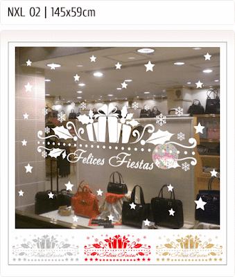 vinilos navidad fiestas trineo regalos estrellas vidrieras