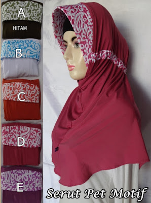 Grosir Jilbab Serut Pet Motif