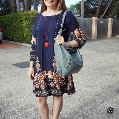 Awayfromblue instagram | Shein navy flower print flowy swing dress with Balenciaga tempete day bag