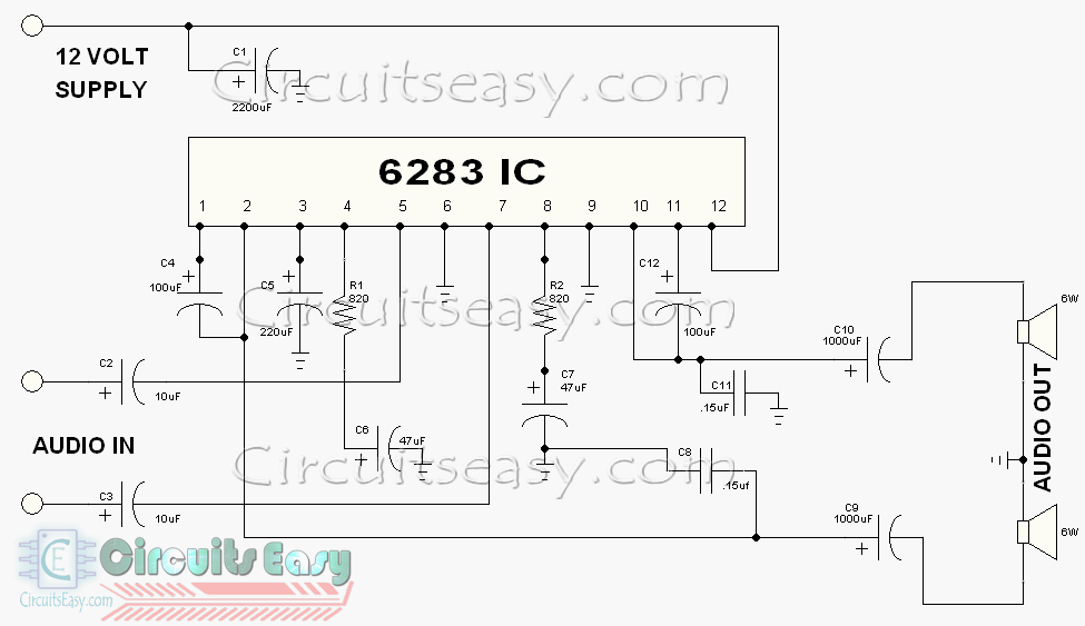6283%2BSTEREO%2BAMPLIFIER%2BCIRCUIT 6283 audio amplifier circuit (stereo mode) electronics home