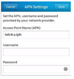 New Telstra apn settings blackberry