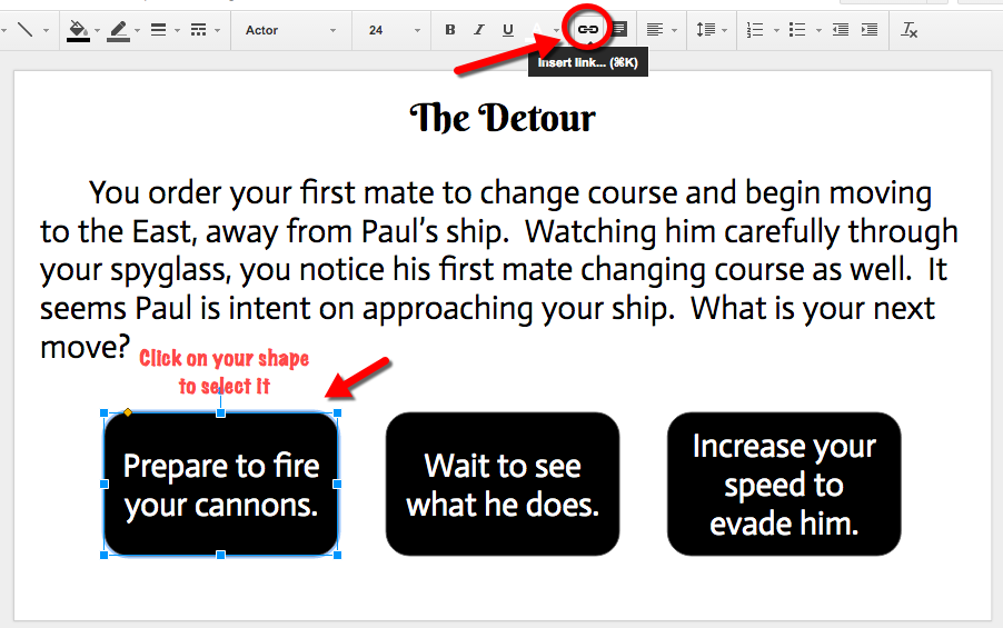 Google Slides: Choose Your Own Adventure Style