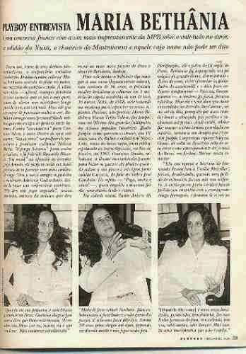 """IMPRENSA: Leia aqui a entrevista Maria Bethânia à """"Playboy"""", em 1996"""