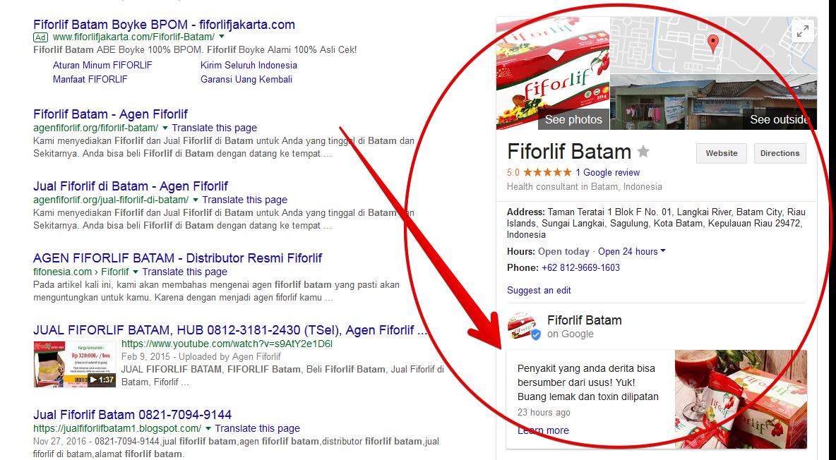 hasil posting google bisnis