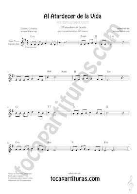 Soprano Sax y Saxo Tenor Partitura de Al Atardecer de la Vida Sheet Music for Soprano Sax and Tenor Saxophone Music Scores