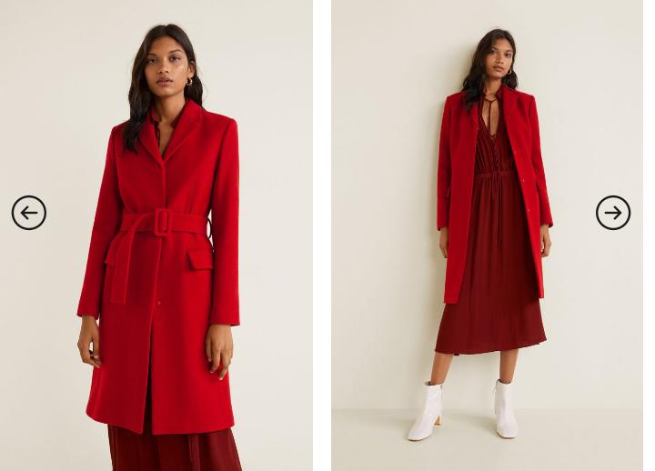 Palton lung rosu elegant de iarna de femei modern