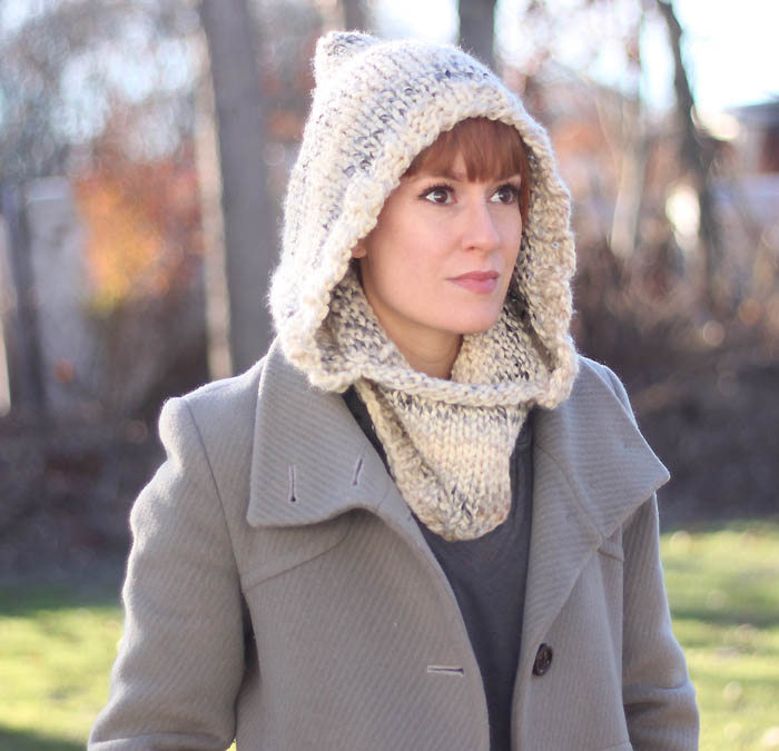 Easy Hooded Cowl Knitting Pattern - Gina Michele