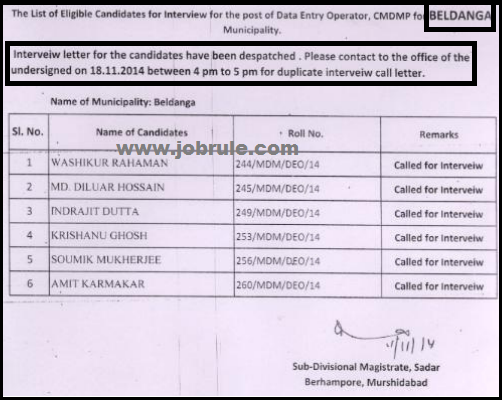 Murshidabad District CMDMP Project (Berhampore & Beldanga Municipality) Data Entry Operator (DEO) Exam Result & Interview Date 2014