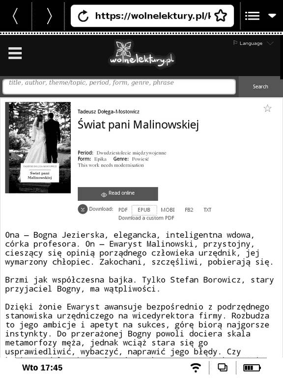 Strona wolnelektury.pl w przeglądarce na PocketBook Basic Touch 2 Save & Safe