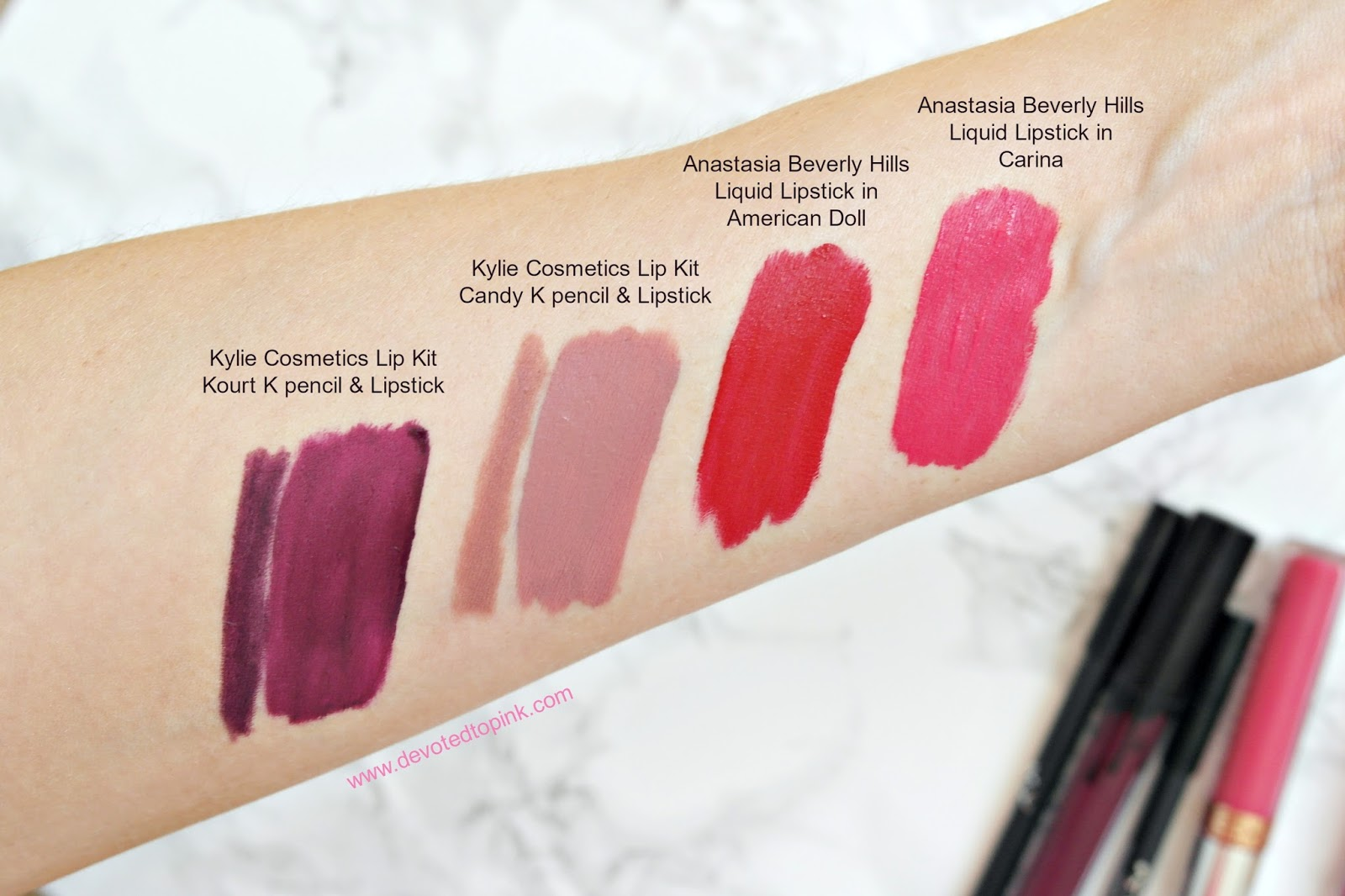 Anastasia Beverly Hills, Kylie Cosmetick lip kit, Kourt K, Candy K, carina, american doll, review, swatches