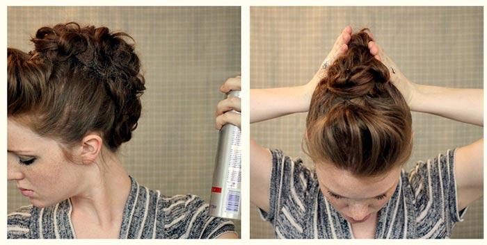 sprey kullanarak bukleli saç topuzu yapımı