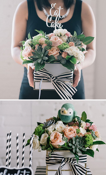 modern wilderness baby shower - flower details | creativebag.com