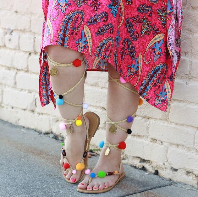 Pink Caftan and Pom Pom Sandals