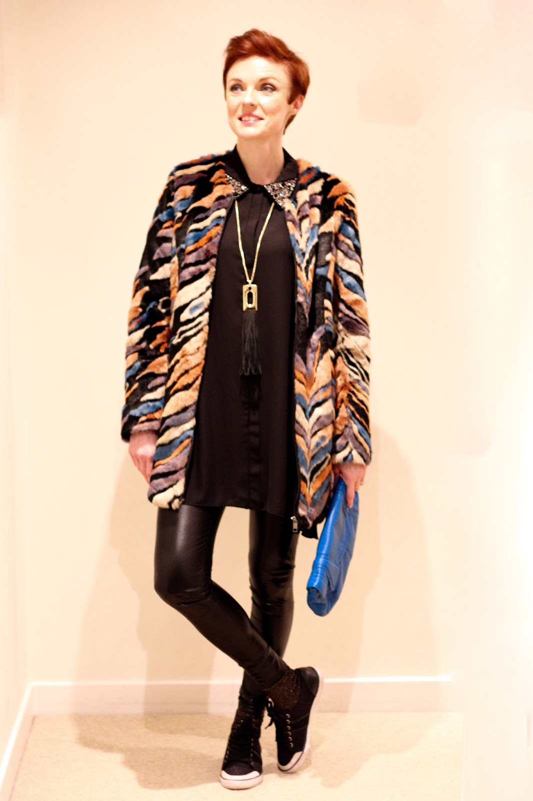 Fake Fabulous | Vinyl leggings, fur and chiffon.