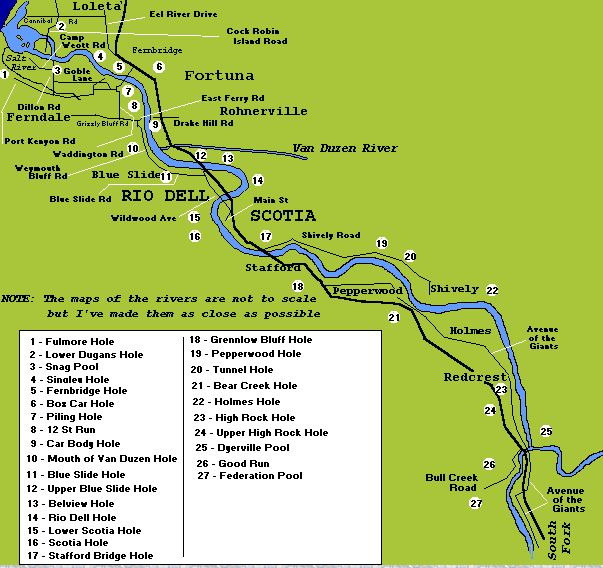 How to fix Eel River, Eel river fishing map