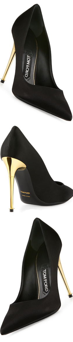 TOM FORD Satin 105mm Pin-Heel Pump, Black
