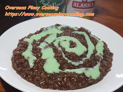 Champorado with Pinipig and Pandan Milk