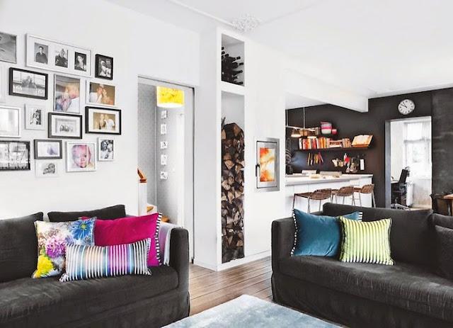 Apartamento com muitas paredes decoradas. Blog Achados de Decoração