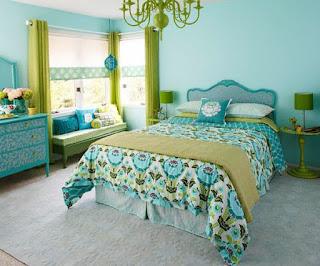 habitación turquesa verde