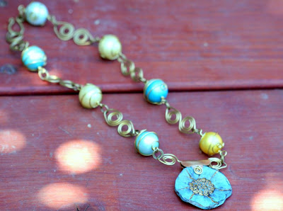 Un-named ooak necklace: brass, polymer clay by Jeannie K Dukic, glass pearls :: All Pretty Things