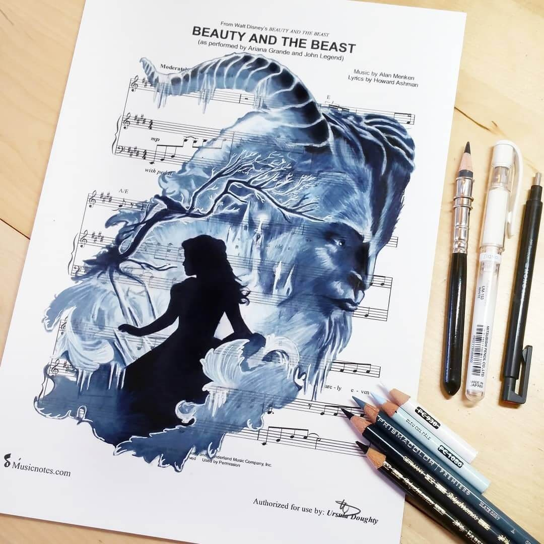 10-Beauty-and-The-Beast-U-Doughty-Movie-Character-Drawings-on-Music-Sheets-www-designstack-co