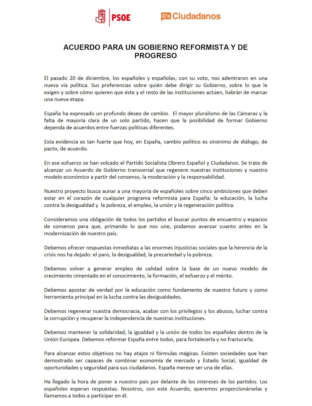 Blog de luis ngel zas acuerdo de gobierno psoe for Acuerdo de gobierno psoe ciudadanos