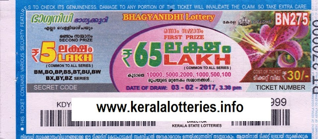 Kerala lottery result live of Bhagyanidhi (BN-70) on  01 February 2013