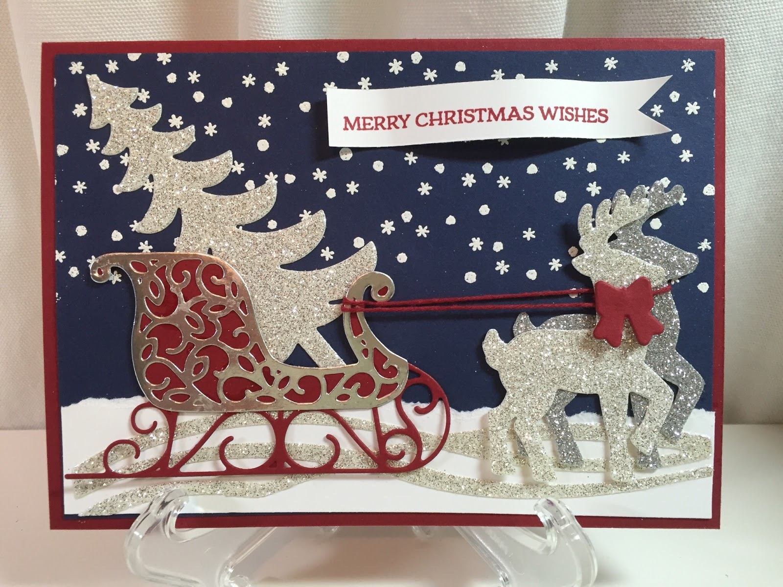 Love paper crafting october 2016 this is a beautiful christmas card made with the santas sleigh stamp set and coordinating framelits from stampin up you can see how to make it here kristyandbryce Gallery