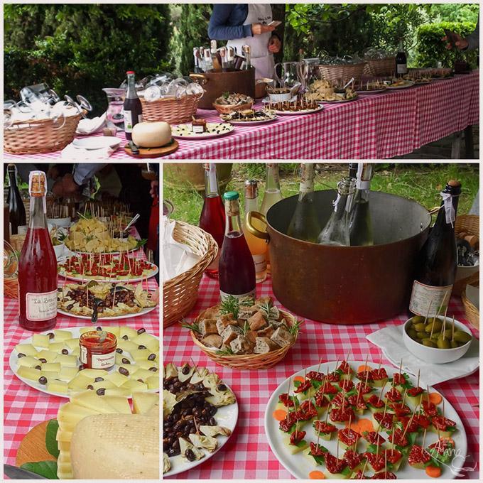 Weinprobe mit Antipasti La Vialla Collage