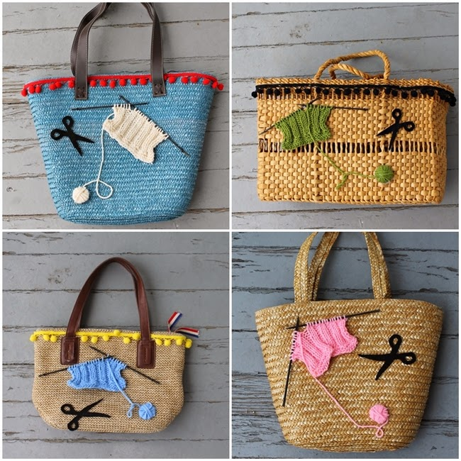 straw knitting purses from wacky tuna on etsy via va voom vintage