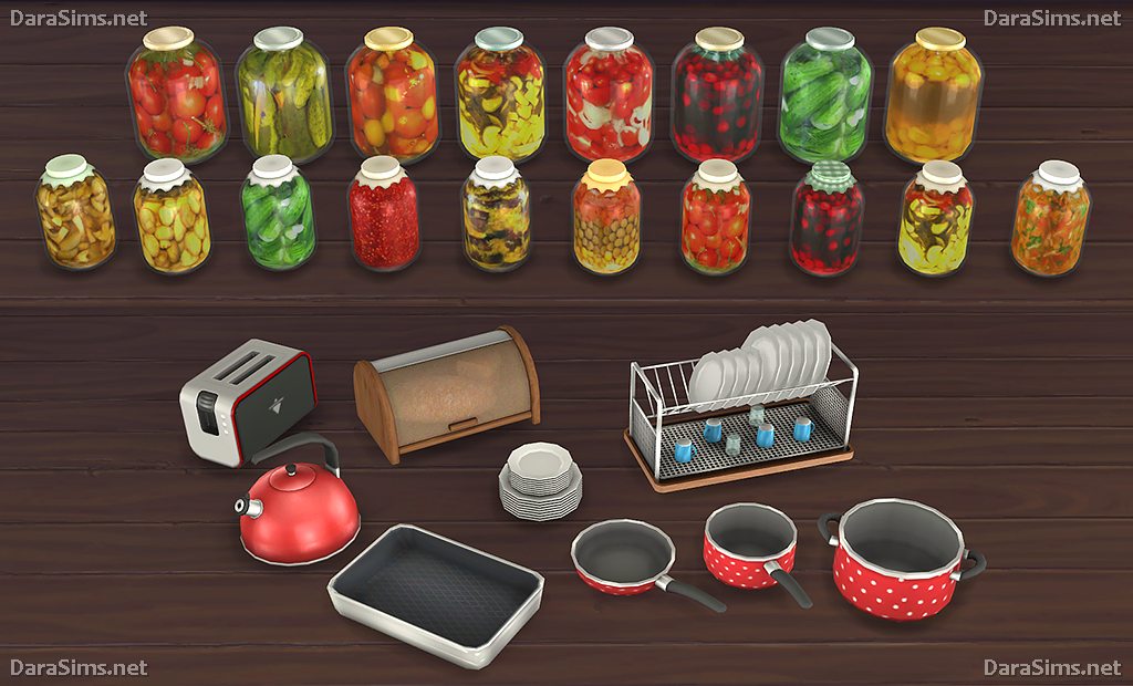 Sims 4 cc 39 s the best kitchen clutter and food decor by dara for Decoration stuff