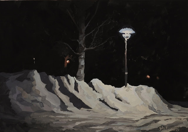 Painting in gouache. A winter streetlight shines on a tree and snow on the ground.  By Adam Stolterman