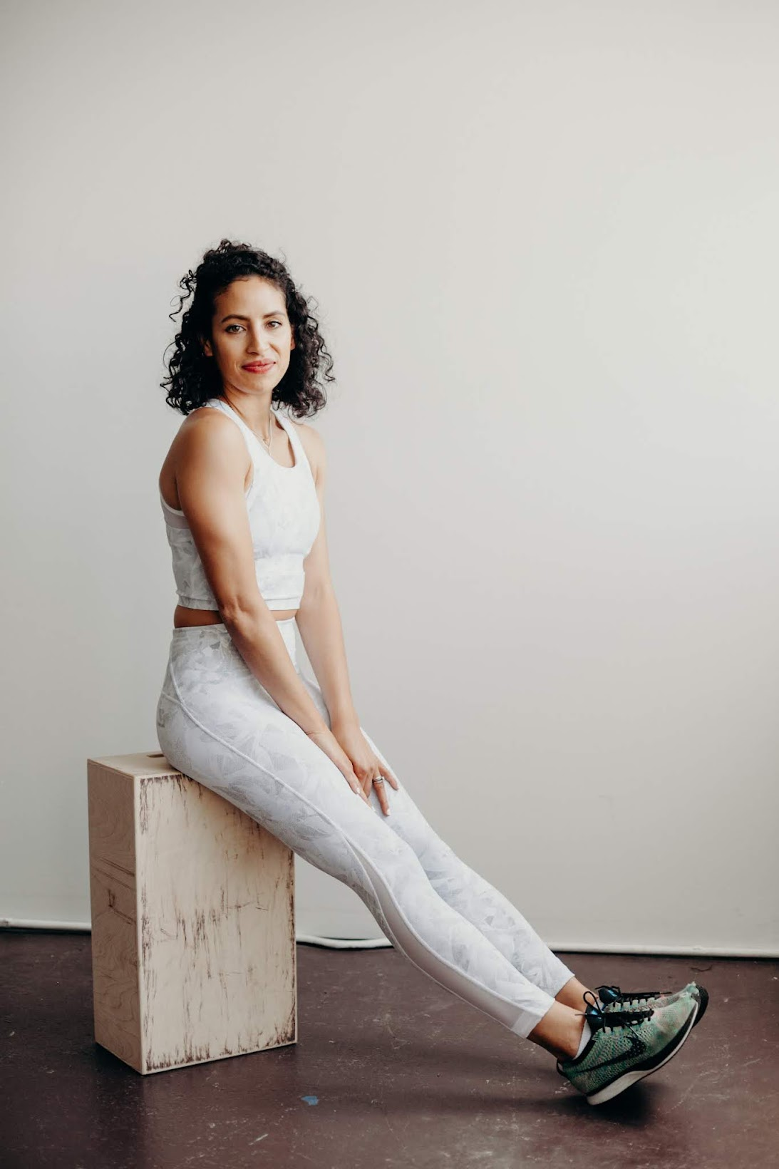 body image, body positivity, flywheel, workout gear, short curly hair