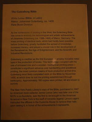 Biblia de gutenberg en la biblioteca publica de New York